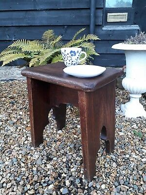 Arts And Crafts Gothic Heavy Oak Stool Coffee Table Lamp Table