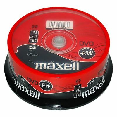 25 x Maxell Blank Discs Re-Writable DVD-RW 4.7GB DVD 120 Min Video/Data 2x Speed