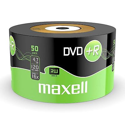 50 x Maxell Blank Discs Recordable DVD+R 4.7GB DVDR 120 Minutes Video 16x Speed