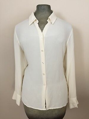 190bfd78dc Charter Club Women s Silk Blouse Sz 14 W Front Button Long Sleeve Shirt  Ivory