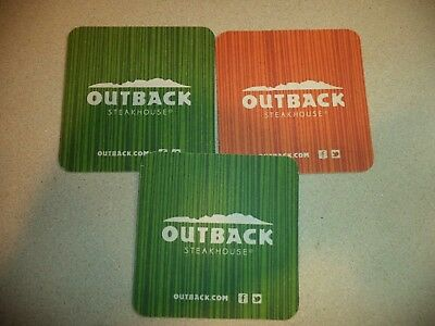 LOT of THREE OUTBACK Steakhouse Beer/Drink Coasters!  Used