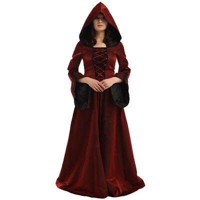 Medieval Renaissance Lace Up Flare Long Sleeve Dress Hooded Dress Cosplay Gown