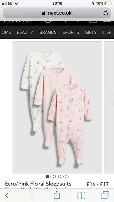 Next Floral White Pink Sleepsuits Up To 1 Month Newborn 0-3