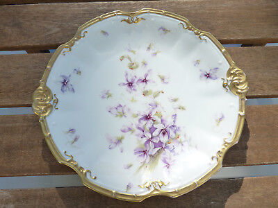Hand Painted Coiffe LS&S Limoges Violets & Gold Scalloped Decorative Plate