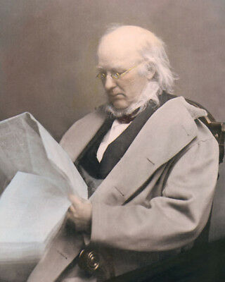 "HORACE GREELEY NEWSPAPER EDITOR POLITICIAN 8x10"" HAND COLOR TINTED PHOTOGRAPH"
