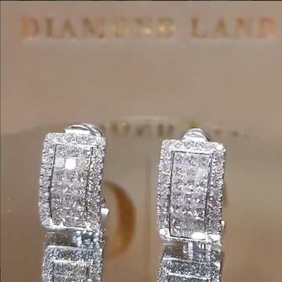Fashion 925 Silver White Sapphire Ear Stud Hook Earrings Wedding Bridal Jewelry