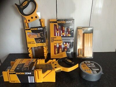 Workzone Tool Bundle Mitrebox & Saw 8 Piece Vde Screwdriver Set Duct Tape & More