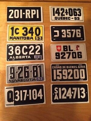 R714-13 License Plates (1953 Topps)- Lot  10 Diff. Foreign Plates -  Nr. Mint