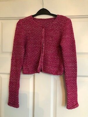 Girls Sparkle Long Sleeve Crop Pink and Silver Party Cardigan Age 9 Years