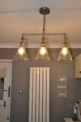 Laura Ashley Isaac 3 Arm Bar Pendant Light In Chrome Height Adjule