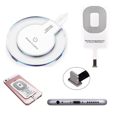 Qi Wireless Charger Charging Pad Mat Dock + Receiver For Samsung / iPhoneAA
