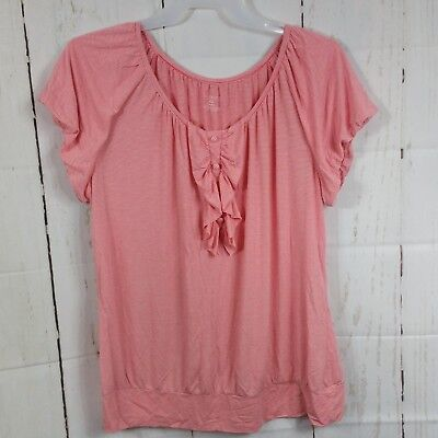 Lane Bryant Womens Plus Sz 18/20 Pink Stripe T Shirt Ruffled Front Cap Sleeves