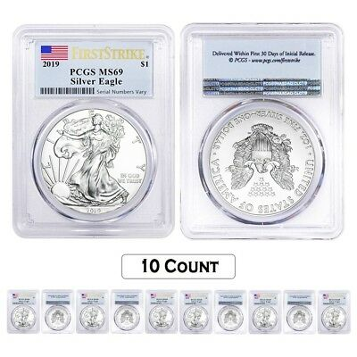 Lot of 10 - 2019 1 oz Silver American Eagle $1 Coin PCGS MS 69 FS (Flag Label)
