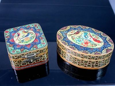 2 Vintage PERSIAN Hand Painted Khatam Inlay Mosaic MARQUETRY TRINKET BOXES