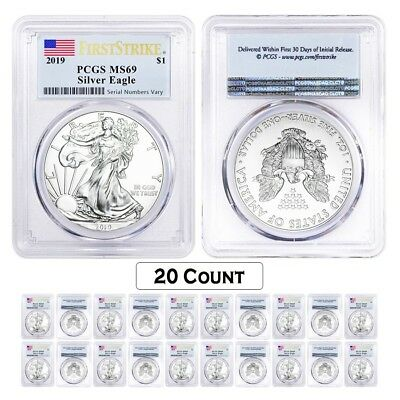 Lot of 20 - 2019 1 oz Silver American Eagle $1 Coin PCGS MS 69 FS (Flag Label)