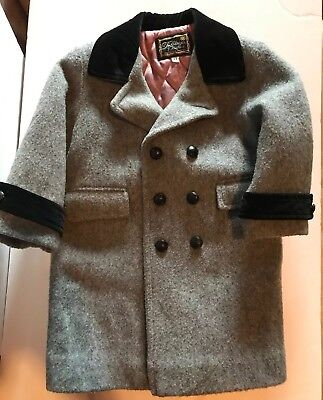 Boys 3T Vintage Double Breasted Wool Lined Coat Gray Fieldston Clothes Honduras