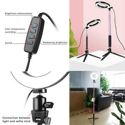 """8"""" Ring Light Kit with Stand Makeup LED 5500K Selfie Camera Dimmable Phone H9M0N"""