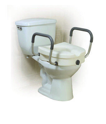 Elevated Toilet Seat w/Arms 2-in-1Locking Tool-Free Retail