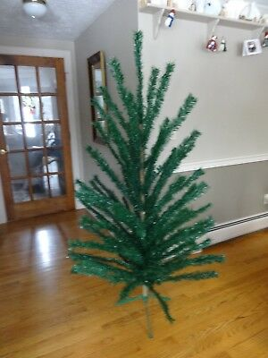 60's VTG 7 ft German like Faux Feather Artificial Christmas Tree Silver glimmer