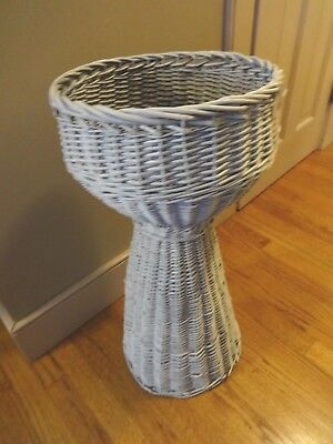 "TALL 27"" Vintage CHIC SHABBY French White Wicker FLOWER Basket Fern Plant Stand"