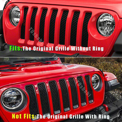 7 pièces serties pour 2018 Jeep Wrangler JL Front Grille Insert couvre-garniture