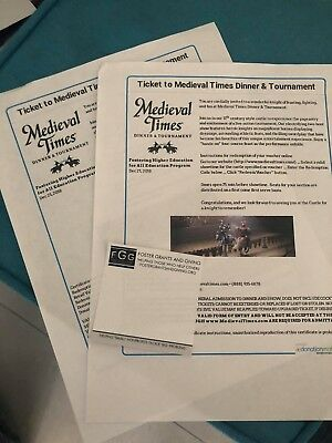 Two Medieval Times Dinner And Tournament Tickets 12600 Value For Charity