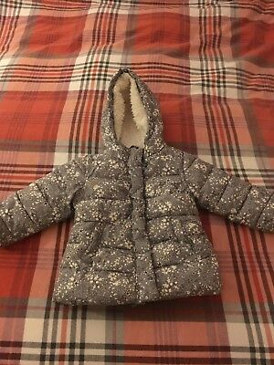 NEXT toddler girl grey floral warm winter coat age 1.5-2 years/18-24 months