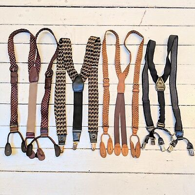 #17 Lot of 4 Vintage Dress Style Leather & Camel Patterned Suspenders (GREAT)