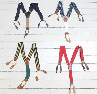 #09 Lot of 4 Vintage Dress Style Classic Mixed Pattern Multi-Color Suspenders