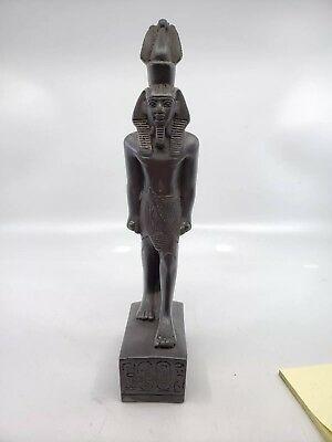 Vintage Soap stone carving Egyptian Statue Marked Pharaoh.good Condition.