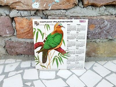 1989 Vintage Somany Pilkington's Beauty In Tiles Pigeon Design Calendar On Tile