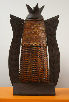 Unusual Filipian Wooden and Basket Weave Container