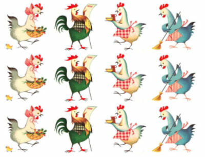 Vintage Image Retro Cooking Kitchen Chickens Furniture Transfers Decals AN737