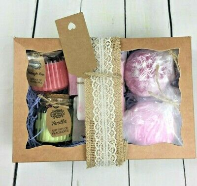 Ladies Bath Bomb Gift Sets, Scented Candles, Luxury Soap Hamper Birthday Gift