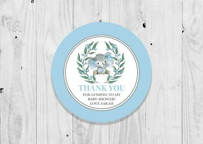 35 Personalised Blue Elephant Baby Boy Baby Shower Stickers Thank