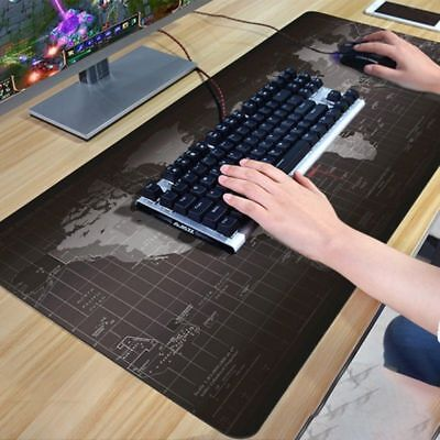 90x40cm Black World Map Extended Gaming Wide Large Mouse Pad Desk Mat Big Lot AA