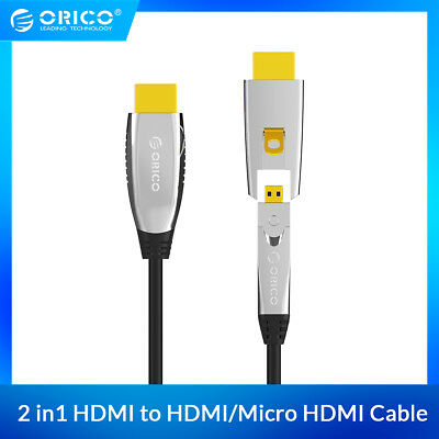 ORICO 2in1 HDMI CABLE 2.0 4K 18Gbps HDMI to HDMI & Micro HDMI Cable 4K 60HZ 100m