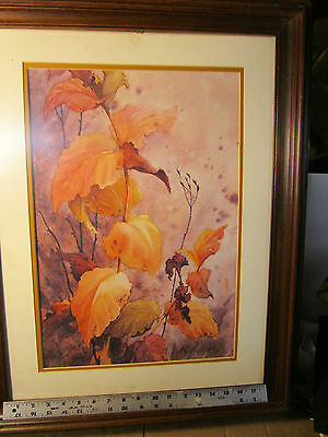 beautiful framed vintage limited edition print September Leaves Mary Kale 6/100
