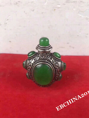Marked Old Chinese Dynasty Bronze inlay Green Jade Gem snuff bottle Statue