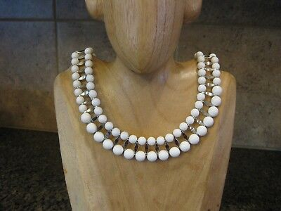 Nice Summer Necklace 2 Strands White Lucite Beads & Silver Tone Connectors