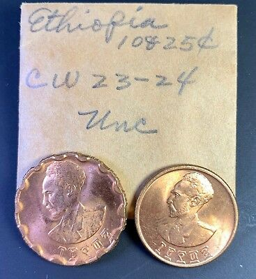 129 - 5...Ethiopia Coins  1¢  5¢   10¢   25¢  All Uncirculated