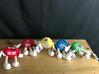 Set of 4 NWT 1997 M&M's World Las Vegas Bean Bag Plush+MINI RED MILLENNIUM TOY