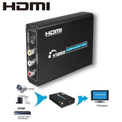 1080P 3RCA AV CVBS Composite &S-Video R/L Audio to HDMI Adapter Converter Lot AA
