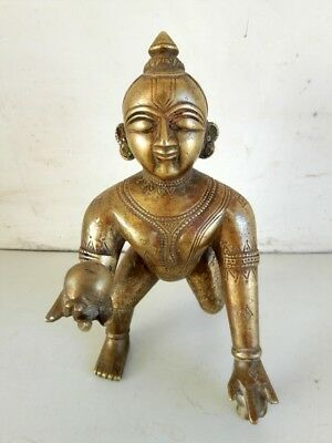 Antique Old Rare Hand Carved Brass Big Hindu God Krishna Worship Figure Statue
