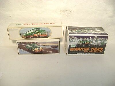 Vintage Hess Truck Lot Of 3 1984-85 Banks And 2007 Monster Truck Untested Nib