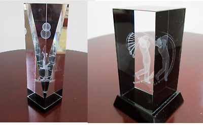 2 Clear glass rectangle paperweights Laser Etched 3D Image Golfer Taking a Swing