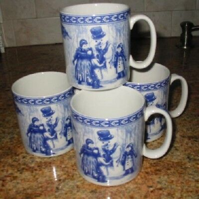 4 Spode Snowman Mugs - Victorian Children Mug Collection-First Issue - Perfect