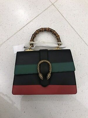 d818bd1b144 BNWT GUCCI DIONYSUS Bamboo Top Handle Satchel Bag Purse Medium Black Red  Blue -  1