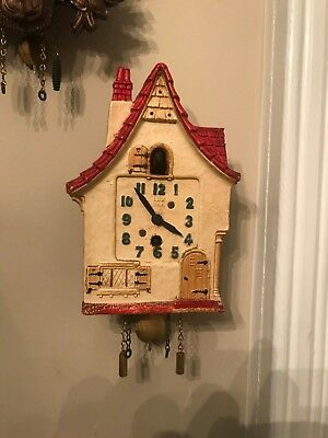 Antique  Lux Clock Co. Cottage  Animated Cuckoo Clock Style Runs great,