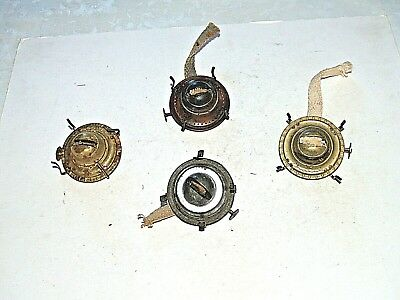 Nice Lot Of 4 Vintage Oil Lamp #1 Burners, Brass, Brass Plated, Tin